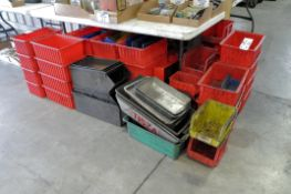 Lot-Plastic and Metal Tote/Parts Bins Under (1) Table, (Bldg 1)