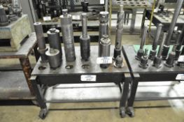 Lot-(9) Various 50-Taper Tool Holders with Cart, (Bldg 1)