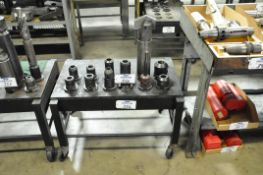 Lot-(12) Various 50-Taper Tool Holders with Spade Drills and Cart, (Bldg 1)