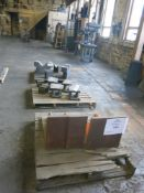 (3) Pallets of Angle Plates, Material Risers, V-Blocks