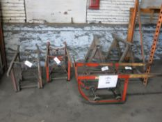 Lot of (3) 55-Gallon Drum Carts, (2) Heavy Duty Steel Saw Horses