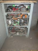 Lot of (3) Metal Cabinets w/ Contents, (2) Heavy Duty Steel Shelving Units