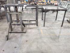 (2) Tubular Steel Work Stands & Steel Work Table