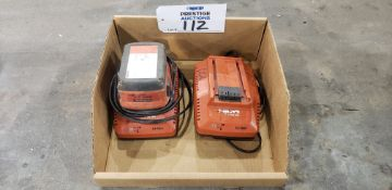 (2) Hilti C 4/36-90 36V Battery Chargers & (1) B 22/5.2 Lithium Ion Battery