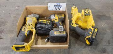 """(1) DeWalt DCG412, 20V Cordless Grinder, (1) DCE100 20V Cordless Blower, (1) DCF887 1/4"""" , 20V Cord"""