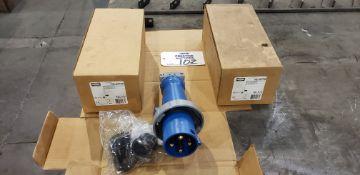 (3) Hubbel HBL460P9W 250VAC Pin & Sleeve Watertight Plug