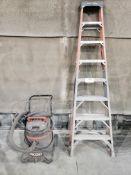 (1) Werner 8' Fiberglass Step Ladder & Rigid 1400 RVO 14 Gal. Wet/Dry Vacuum