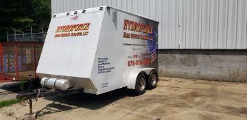 Enclosed Diamond Plate Trailer W/Powerclean CFI 3000 Carpet, Stone, Tile & Grout Cleaning Machine.
