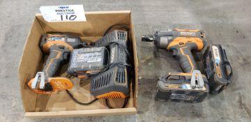 """(1) Rigid R86011, 1/2"""", 18V, VSR Cordless Hammer Drill, (1) Rigid R86037, 1/4"""", 18V, Impact Driver,"""