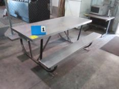 (2) PICNIC TABLES, MICROWAVE ON TABLE