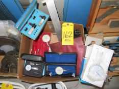 1 IN. TRAVEL DIAL INDICATOR AND TEST INDICATORS, PUNCH STAMP SET AND ASSORTED GAUGE SETS