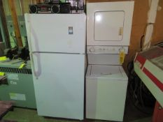 KENMORE REFRIG/FREEZER, G.E. W/D COMBO, M/W OVEN AND MISC. RADIOS