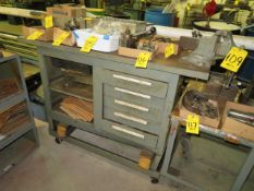 MOBILE IRON WORKBENCH W/H.D. VISE, 5 DRAWER AND STORAGE