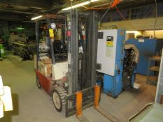 NISSAN OPJ02A25 LP SOLID TIRE FORKLIFT, S/N OPJ02.9437, BELIEVED TO BE 4400 LBS CAP., 3 STAGE LIFT