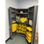 EDSAL POCKET DOOR SUPPLY CABINET WITH PLASTIC STORAGE BINS,