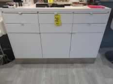 60 IN MAKE-UP COUNTER W/ DRAWERS, PULL-OUT SHELVES AND CABINET STORAGE W/ LIGHT BAR