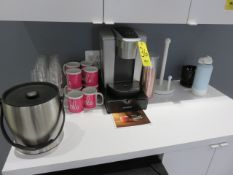 KEURIG COFFEE MAKER, STAND, ICE BUCKET, GLASSES, MUGS AND SUPPLIES