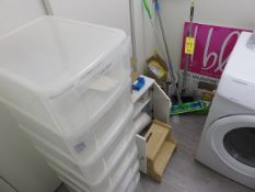 SWIFTERS, CLEANING AND PAPER SUPPLIES, CABINET AND STOOL