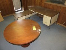 36 IN. ROUND CONFERENCE TABLE AND METAL DESK WITH LEFT RETURN