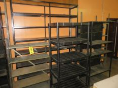 ASSORTED SHELVING UNIT AND ONE CABINET