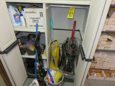 PLASTIC STORAGE CABINET WITH JANITORIAL SUPPLIES