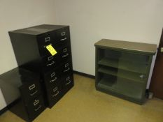 (2) 4-DR. AND (1) 2-DR. LETTER FILE CABINETS AND METAL BOOKCASE WITH SLIDING GLASS DOORS
