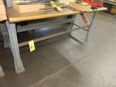 (2) 36 X 72 IN. WOOD TOP WORK BENCHES (ONE BUTCHER BLOCK)