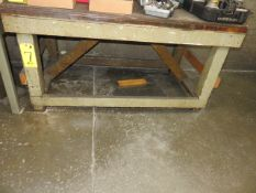 (3) WOODEN WORK BENCHES