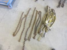 (6) ASSORTED CANVAS SLING AND ASSORTED CHAINS