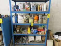 ASSORTED FLUIDS, LUBRICANT, TRUCK PARTS AND MISCELLANEOUS ON SHELF (RACK NOT INCLUDED)