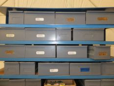 48 IN. MULTI-SHELF IRON RACK WITH DRAWERS OF FITTINGS, HARDWARE AND MISC. MAINTENANCE SUPPLIES
