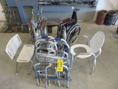 ASSORTED MULTIPLE WALKERS, (2) WHEELCHAIRS, SHOWER AND TOILET SEAT