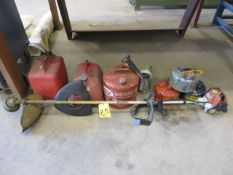 STIHL WEED WACKER AND ASSORTED GAS CANS