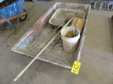 (3) CEMENT MIXING PANS AND ASSORTED TOOLS