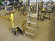 PALLET JACK (AS IS) WITH SMALL STEP LADDER