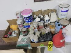 SPRAY PAINT, THINNER, SPACKLING, FILLER AND FILTERS, OILS AND LUBES, (2) COVERALLS