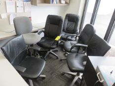 (5) PNEUMATIC CHAIRS AND (1) PNEUMATIC STOOL