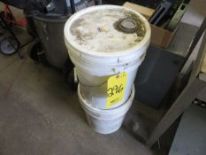 PARTIAL 5-GALLON PAIL OF SUPERCUT DARK CUTTING OIL AND ROYSON FINISHING MILL SOLUTION