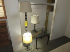 (2) LAMPS AND (1) GLASS END TABLE (ON LOFT - MUST COME DOWN STEPS)