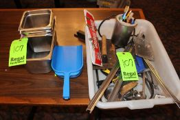 (4) Stainless Steel Inserts and Bin with Misc. Kitchen Equipment (Ladle, Scoop,