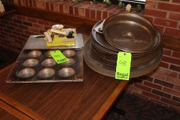 (19) Serving Trays, (2) Pot Lids, Chicago Baking Pan, Box of miscellaneous Hardware