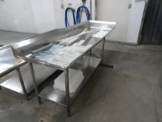"""STAINLESS STEEL TABLE, 8' X 30"""" WITH DRAIN"""