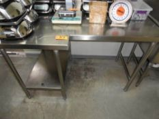 """STAINLESS STEEL TABLE, """"L"""" SHAPED, 60"""" X 30/38"""" WITH BACK SPLASH"""