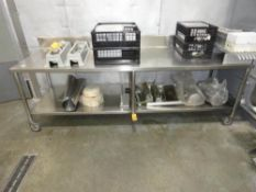 """STAINLESS STEEL TABLE, 8' X 30"""" WITH UNDERSHELF ON CASTERS"""