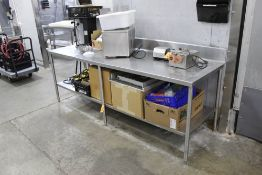 """STAINLESS STEEL TABLE, 8' X 30"""" ( NO CONTENTS)"""