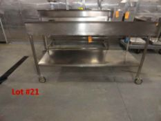 """STAINLESS STEEL TABLE, 6' WITH 6"""" SIDES"""
