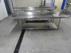 """STAINLESS STEEL TABLE, 10' X 36"""" WITH UNDERSHELF"""