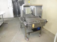 """SPRAY INTERVENTION CONVEYOR, 60"""" LONG X 30"""" STAINLESS ROD BELT, 2' CABINET ON CASTERS"""