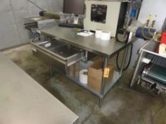 """RECENCY STAINLESS STEEL TABLE, 4' X 30"""" WITH DRAWER"""