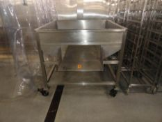 STAINLESS STEEL TRANSFER HOPPER, 52 X 52 X 48 ON CASTERS